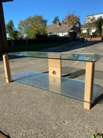 Glass and oak 2 tier tv stand. Suit up to 55inch tv