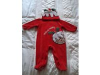 TESCO BABIES CHRISTMAS PUDDING OUTFIT C/W HAT , 6-9 MONTHS, EXC. COND.