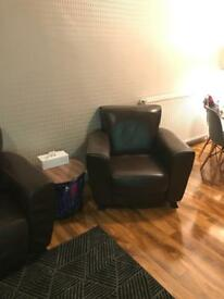 FREE 2 seat brown leather sofa and 2 chairs