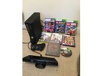 X box 360 with Kinect, 1 controller and 8 games.