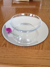 8 Table Centrepieces Round Mirrors with Bowls