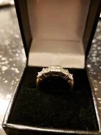 18ct. GOLD ring full carat of DIAMONDS! SIZE M/N