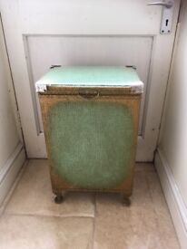Lloyd Loom style vintage laundry bin / basket and bedside cabinet in green and gold with glass top