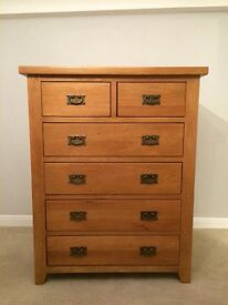 Solid Oak 6 drawer chest of drawers