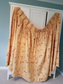 Gold/orange, triple pinch pleat, lined curtains