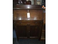 Lovely Art Deco Style Slim Line Lockable Solid Oak Bureau Writing Desk Bookcase with Drawer