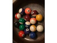 Small size pool balls and cues