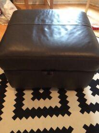 Dark brown leather ottoman storage pouffe