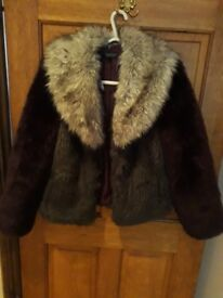 Ladies/ girls fluffy coat/ jacket size 6 plum Topshop brand new
