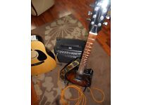 Electric guitar and amp and acoustic guitar