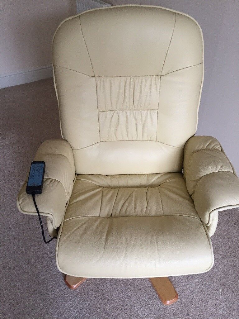 Cream leather reclining massage chair
