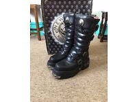 New Rock Boots M474 Gothic high calf Boots Mens SIZE UK9 EU43 US10 RRP £190 - £220
