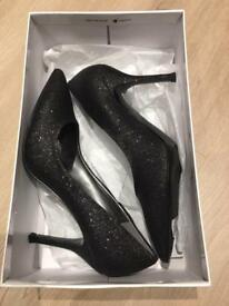 Black Nine West glitter heels