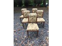 Set five 5 Victorian dining chairs retro vintage
