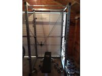 Power Rack + Bench + 120KG Weights + 7ft Olympic bar + Dumbells