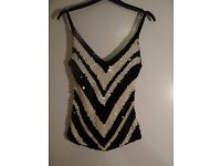 River Island Black & White Sequin Vest Top Size 12 (comes up small)