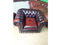 Lovely ox blood leather club chair chesterfield. excellent condition.