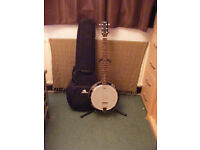 Martin Smith 6 string banjo, closed back with armadillo bag and stand