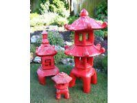 3 x Concrete Chinese lanterns