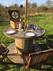 Wooden Cable Reel Drum Garden Table Furniture Various sizes Upcycle Furniture Mancave Display bbq