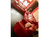Italian red leather suite
