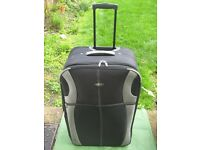 Large Black Fabric Karabar Expandable Suitcase on Wheels