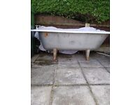 Carron cast iron bath for sale with original legs. The bath and the legs have manufacturers stamp.