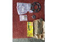 Kawasaki Ninja ZX6R J2 JT Brand new Front and Rear Sprockets (OE size) and Gold D.I.D VX525 chain
