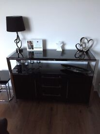 Black and silver high gloss sideboard