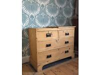 Antique Pine Chest of Drawers (Dressing Table, Dresser, Victorian, Vintage, Retro, Shabby Chic,)