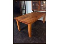 Large 6 seater solid rustic pine planked chunky table.