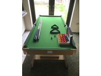 J & R Folding Pool/Snooker Table 6ft With All Accessories Balls/Cues/Triangle