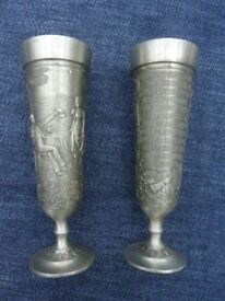 Pair of decorative vintage Pewter Goblets / cups - collectible