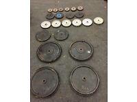 "Cast Iron Weights Plates Discs Standard 1"" York 160kg+ Gym Equipment"