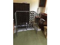 Vintage French wine rack / cage, metal and wood. Great for garage or cellar.