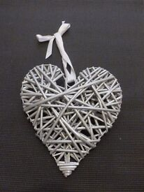 Silver glittered wooden hanging heart decoration