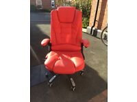 OFFICE CHAIR RED LEATHER WITH MASSAGE FUNCTION. Excellent condition, hardly used