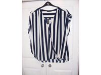 Brand New Black and White Stripped Cross over Top from Primark. Size 20. £5