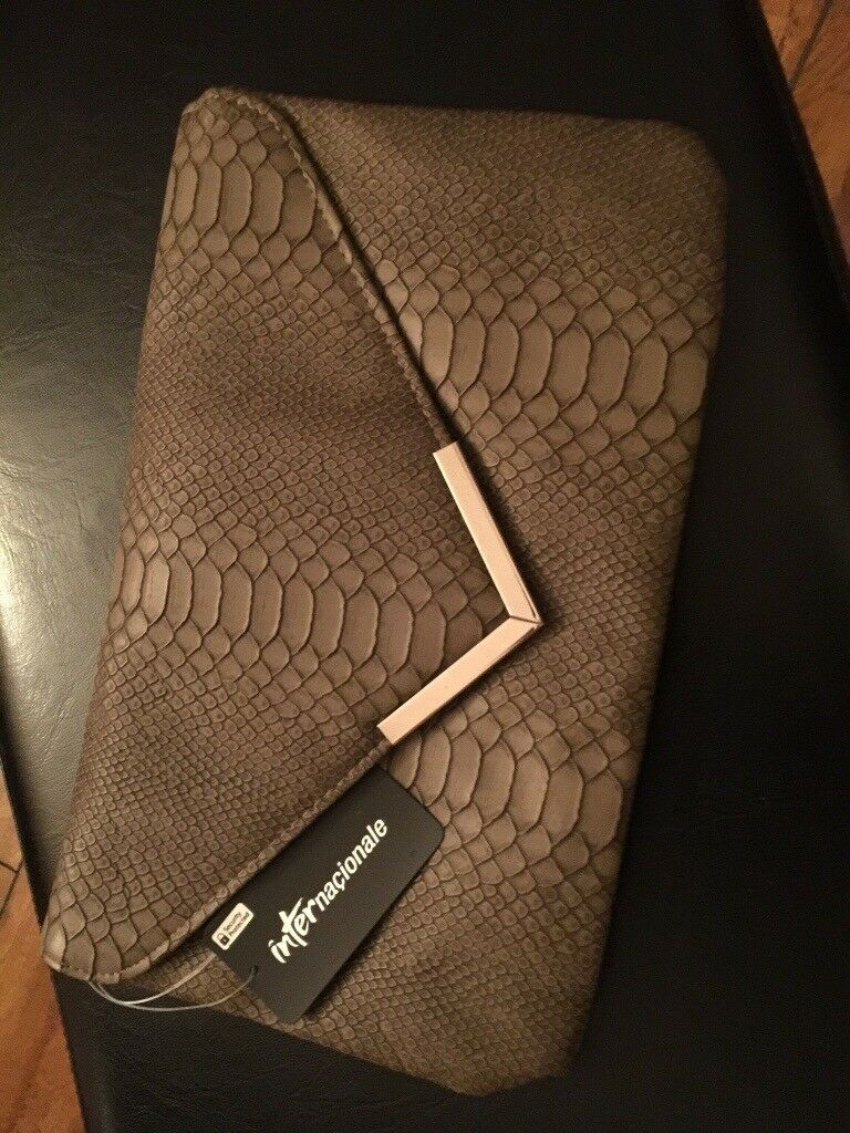 LADIES METAL TRIM SNAKE CLUTCH BAG