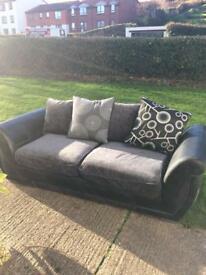 2 Seater black & grey sofa