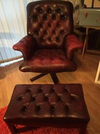 Chesterfield Swivel Armchair & Footstool