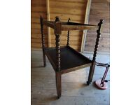 Vintage oak bobbin carved two shelf tea trolley