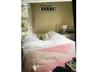 King size cream metal bed & mattress