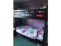 Black ikea bunk bed or 2 single beds frame