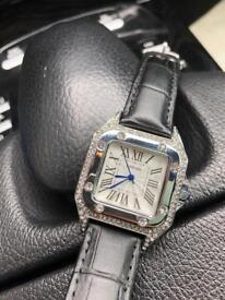 Cartier Santos diamond black leather watch -Brand new boxed