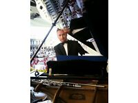 Professional pianist for weddings & events - with white baby grand piano shell