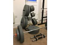 New Mirafit 6ft barbell with QR collars, 2 x dumbbells, 160kg of vinyl gym weights and storage tree
