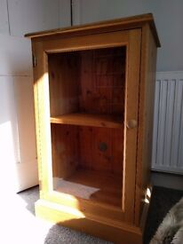 Glass front cabinet, Solid pine, rustic style. Display / hi-fi / drinks cabinet