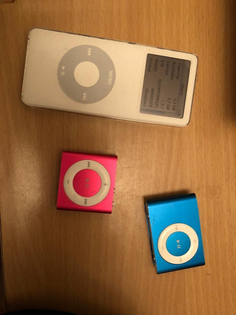 Apple iPod nano 4gb white, iPod 1gb blue,
