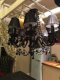 Black crystal 8 stem chandelier